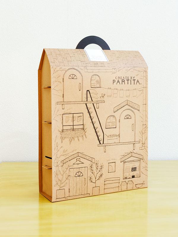 カップケーキ化粧箱 ドールハウス型 背面 イラスト 化粧箱屋ドットコム
